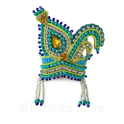 Vrindavan Peacock - Teal - Rhinestone Crown