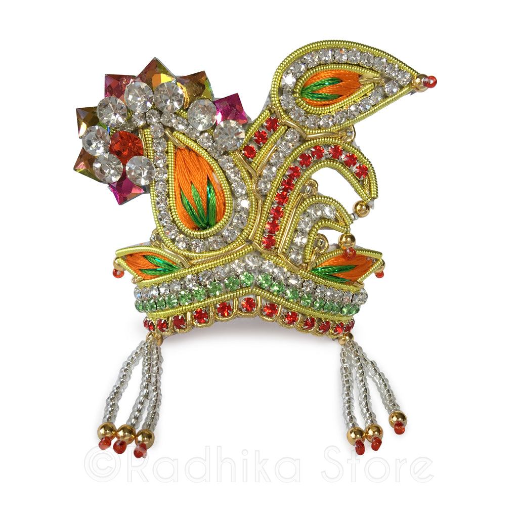 Peacock  Party - Orange and Green - Rhinestone Crown