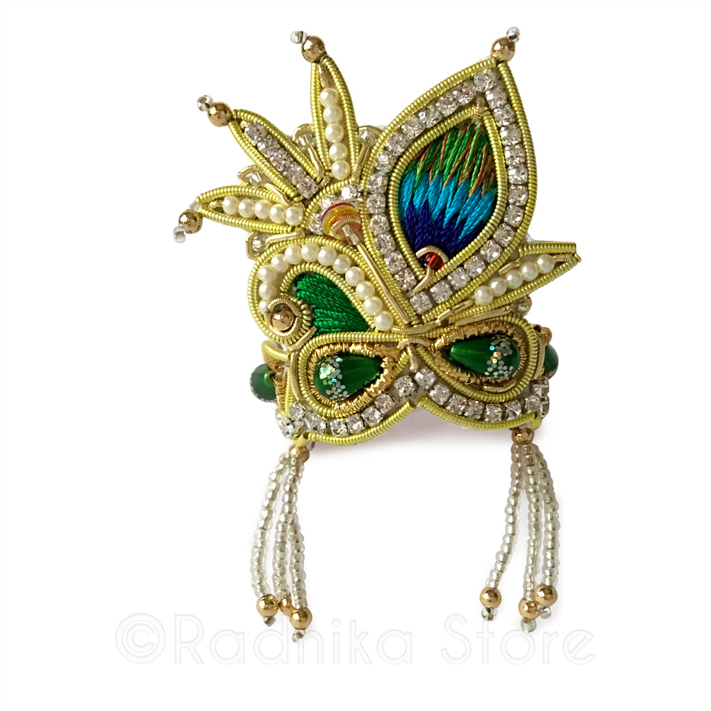 Green - Peacock Pearl - Rhinestone Crown