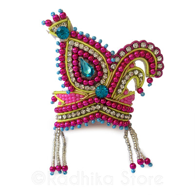Teal And Fuchsia Vrindavan Swan - Rhinestone Crown
