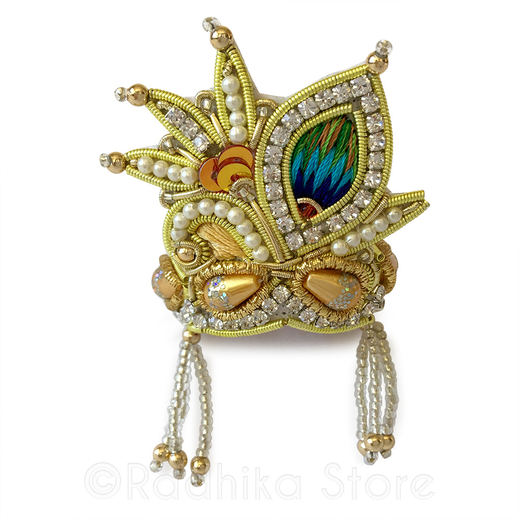 Golden - Peacock Pearl - Rhinestone Crown
