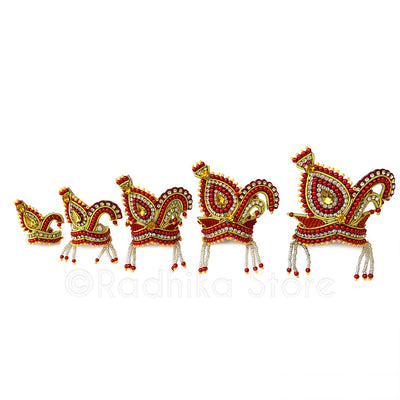 Red and Golden Vrindavan Swan - Rhinestone Crown