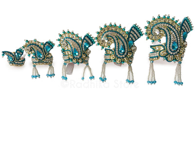 Teal Blue - Crystal Silver And Gold - Chandrika Fan Crown