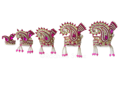 Fuschia Pink - Crystal Silver And Gold - Chandrika Fan Crown