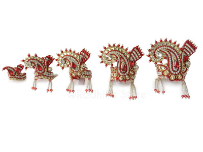 Red And White Crystal - Chandrika Fan Crown