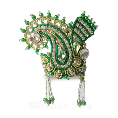 Green And White Crystal - Chandrika Fan Crown