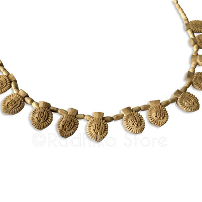 16 Radha lotus Sanskrit Pendants with Barrel Beads - Tulsi Necklace- 3 sizes