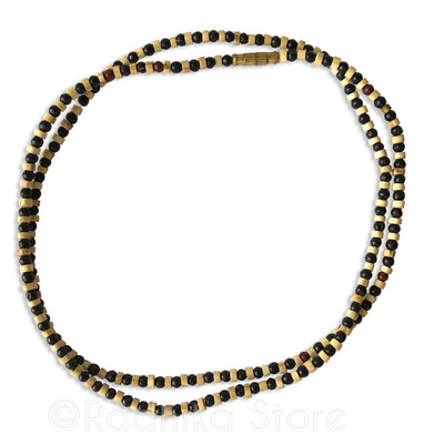 Round Black bead With Natural Cut Tulsi Neck Bead