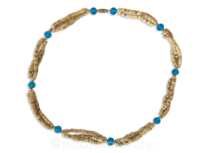 Triple Strand Natural Cut Tulsi Neck Beads -With Blue Glass Bead