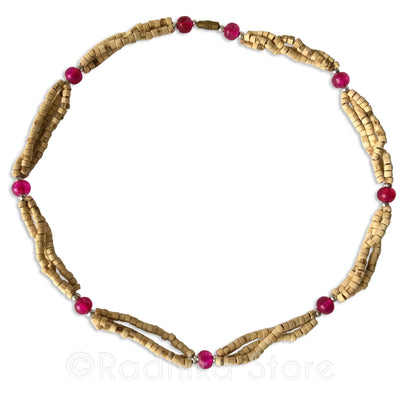 Triple Strand Natural Cut Tulsi Neck Beads -With Pink Glass Bead