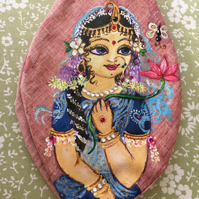 Jaya Sri Radha - Hand Painted With Jewels - Mauve/Pink - Bead Bag