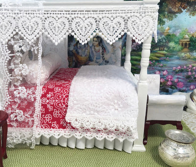 Queen-White Krishna Prema Canopy Bed