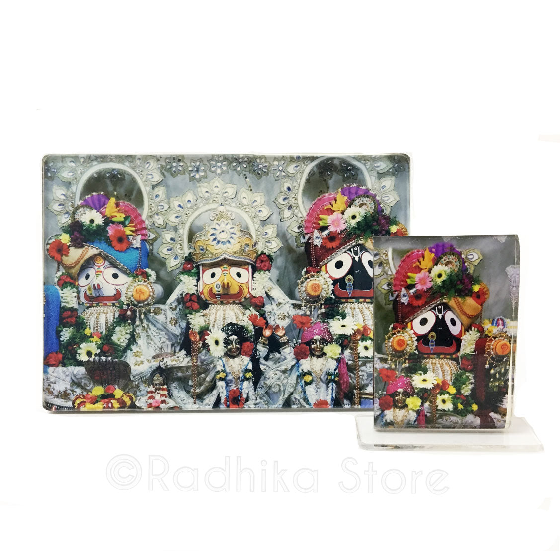 Lord Jagannath White and Silver Acrylic Picture- Choose Size