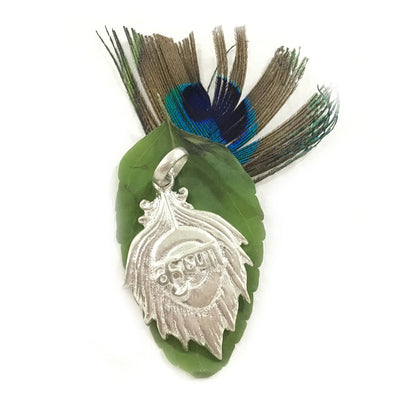 Krishna Sanskrit Peacock Feather Silver Pendant