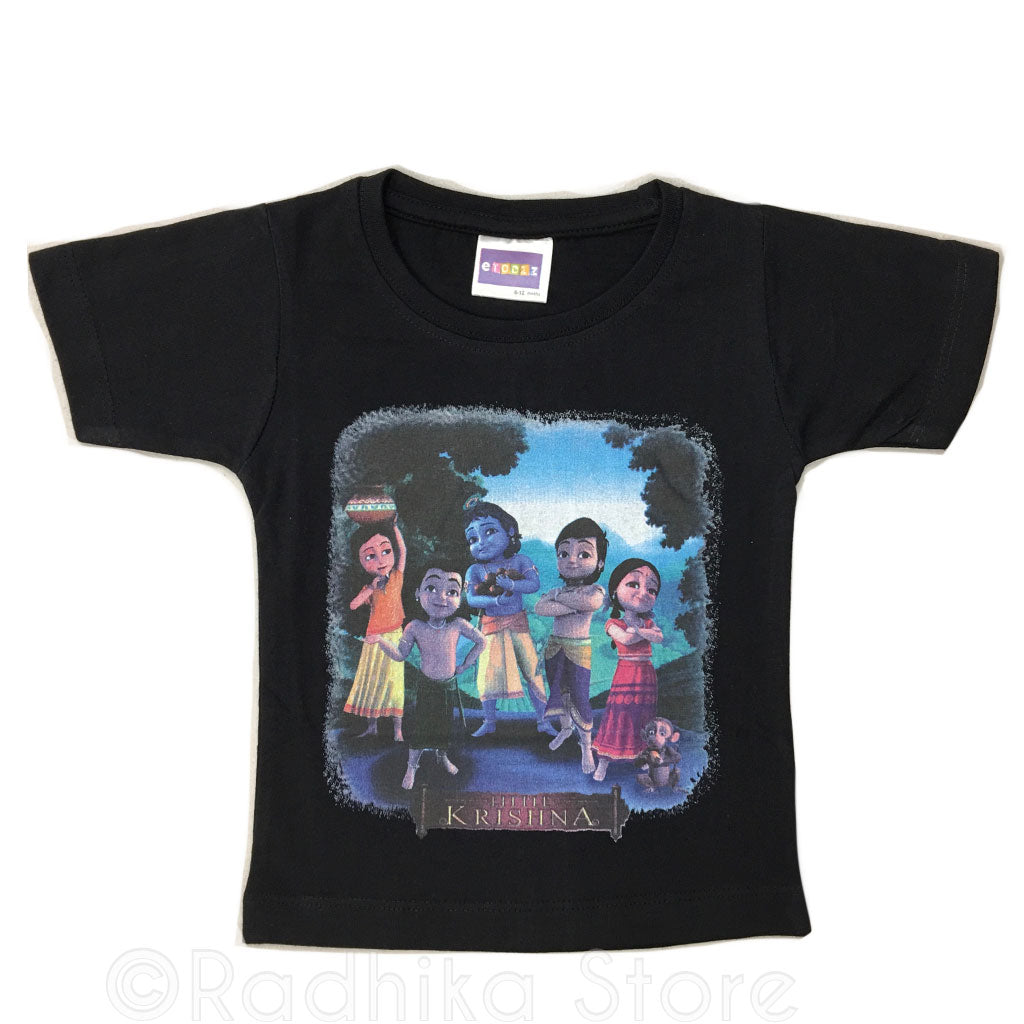 Krishna and Friends - Black- Short Sleeve- Sizes 6 to 12 Months