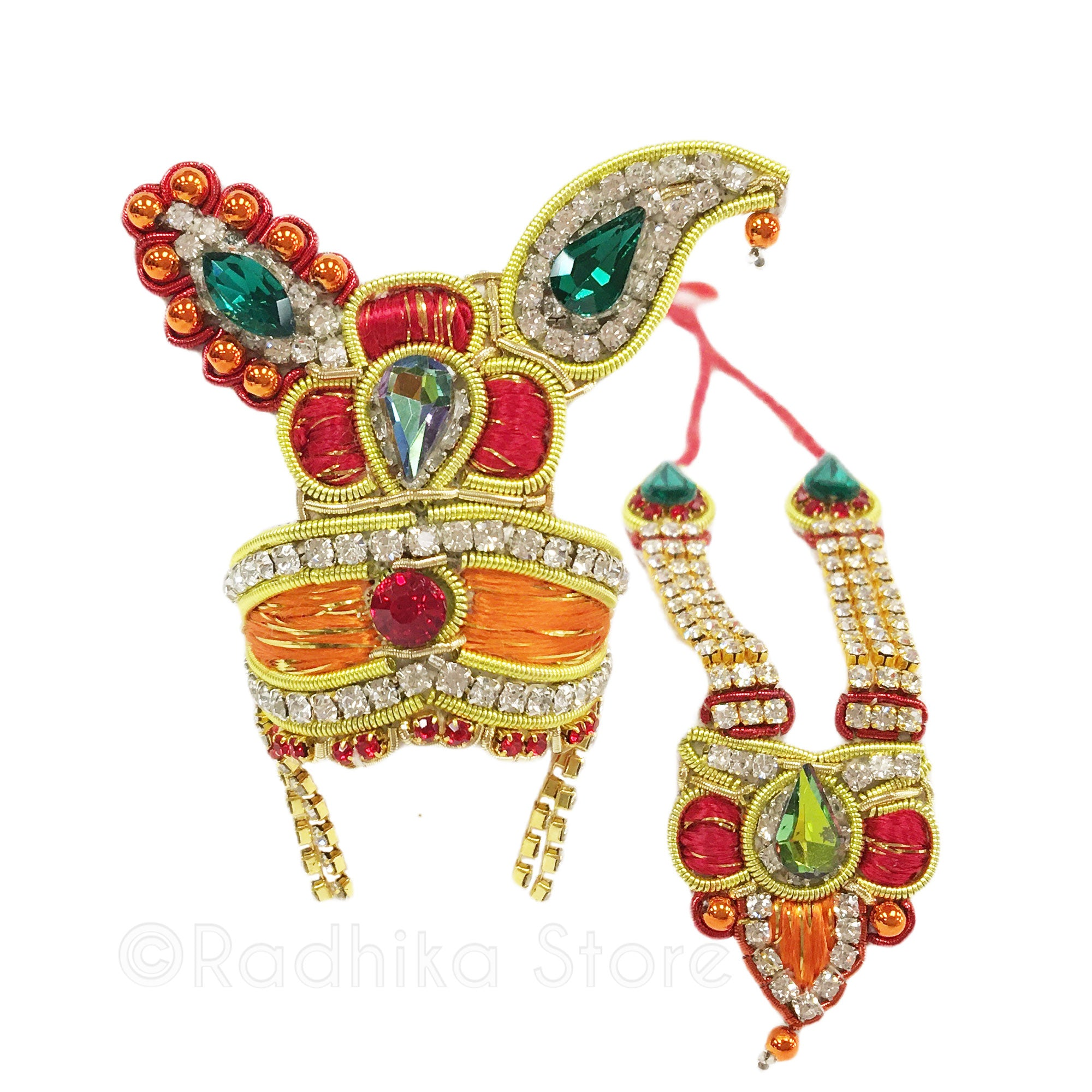 Kusham Sarovara Flower - Deity Crown and Necklace Set