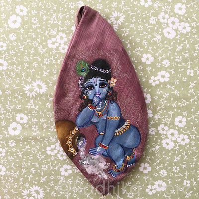Makhanchore - Hand Painted With Jewels - Mauve Jute - Bead Bag