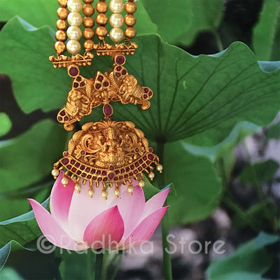 Lakshmi Pearl Elephant Necklace - 24 Karat India Gold look