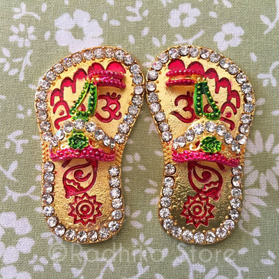 Golden Rhinestones Deity Shoes With Symbols