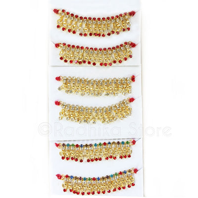 "Rhinestones - Anklet or Belt- Set of 2 - 3 Color Selections - 2"" inches"