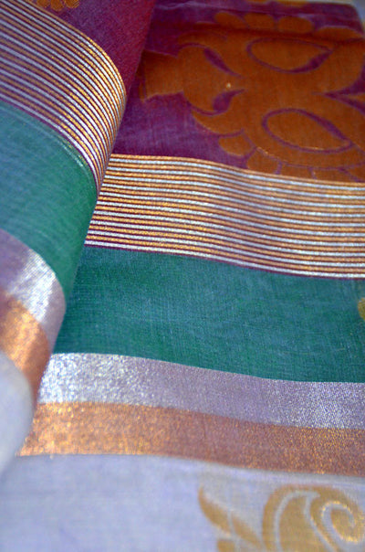 Lavender Fields Stripe - Silk Cotton Saree