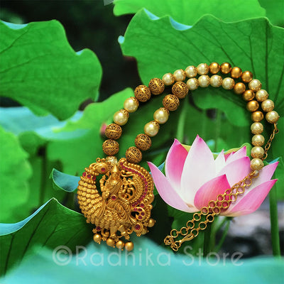 Sri Lakshmi Riding Peacock - Pink - Necklace