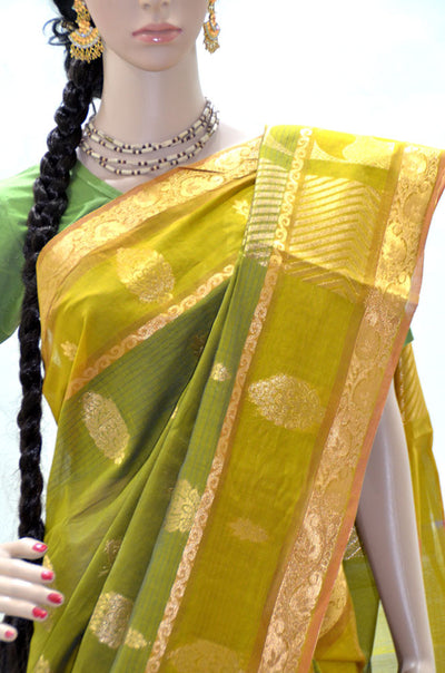 Lime Green and Gold Paisley - Silk Cotton Saree