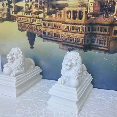Majestic White Lion Statue Set