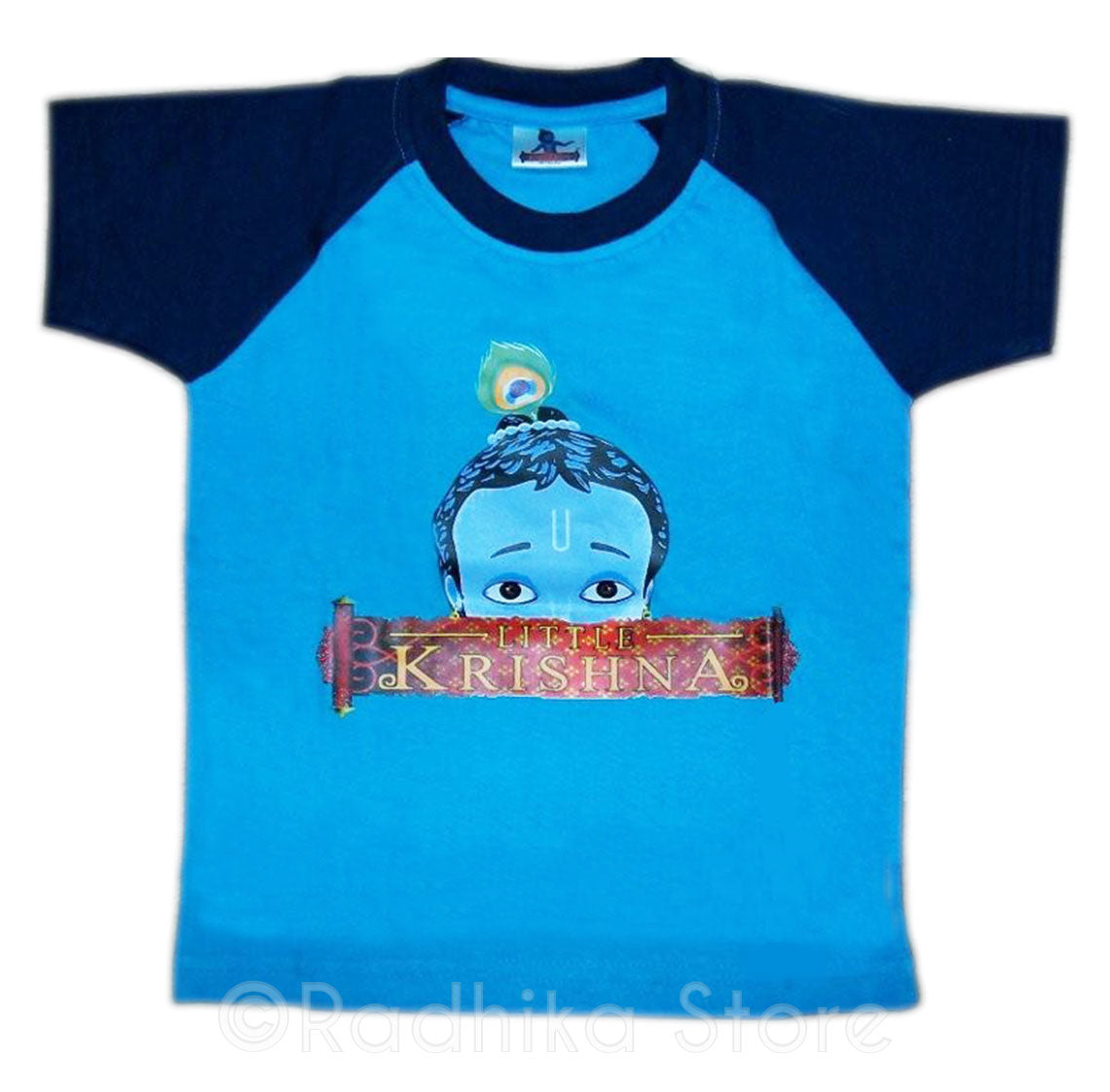 Peeking Krishna T-Shirt, Blue- Short Sleeve- Choose Size- 6 Months to 4 Years