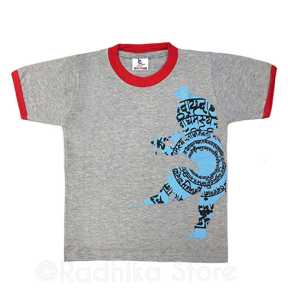 Little Krishna Bg Verse- Gray and Red- Short Sleeve- Choose Size- 3 to 8 Years