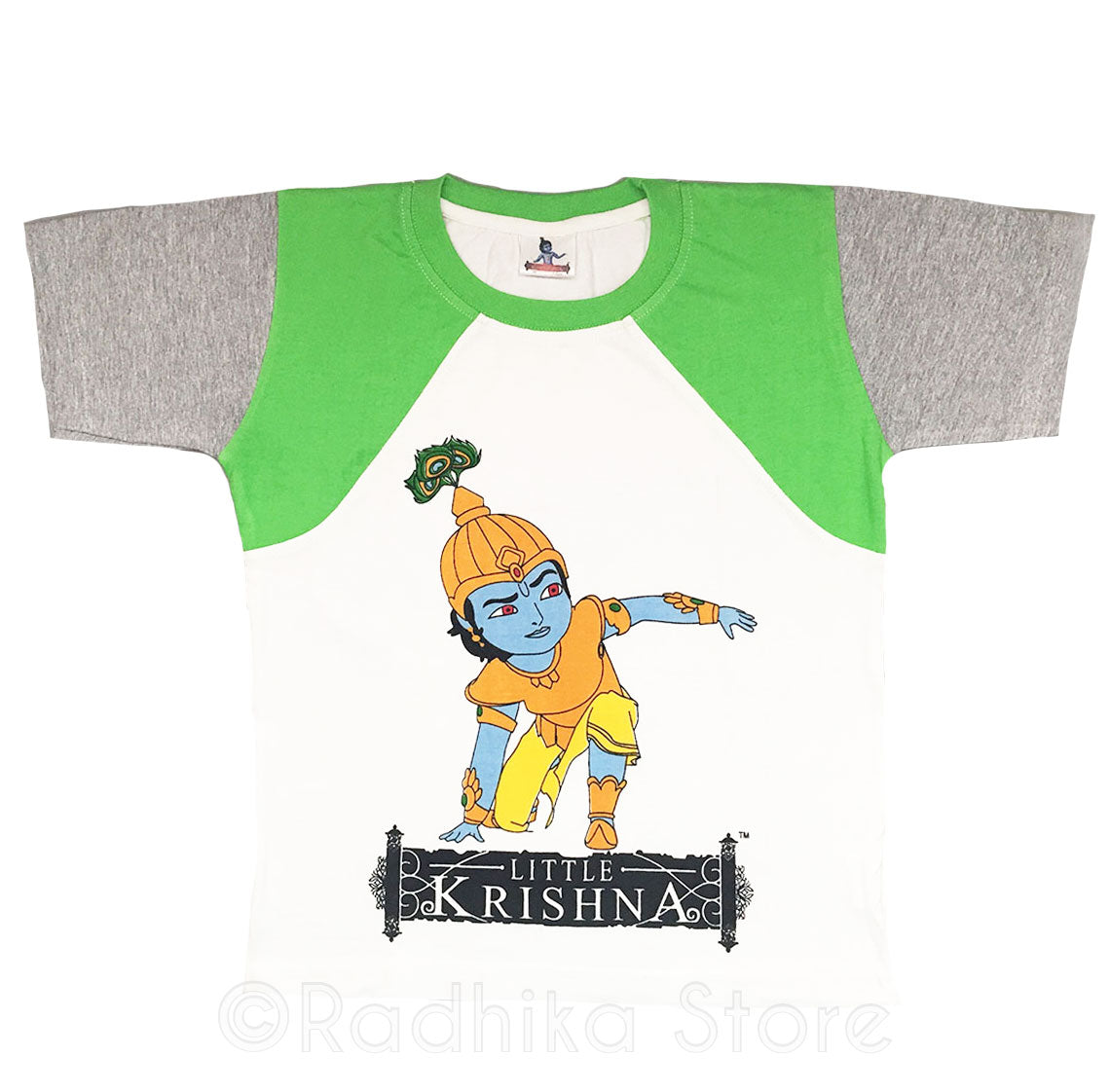 Little Krishna Warrior T-Shirt, White/Green-Short Sleeve- Size- 3 to 8 Years