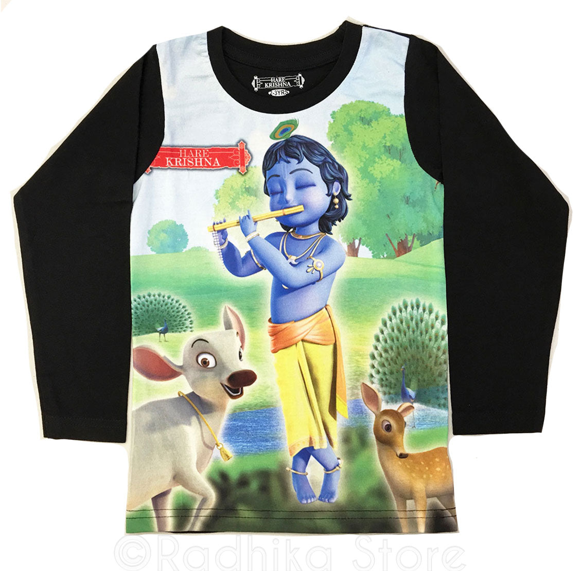 Little Krishna With Animal Friends Long Sleeve - Black-Choose Size 2 to 8 Years