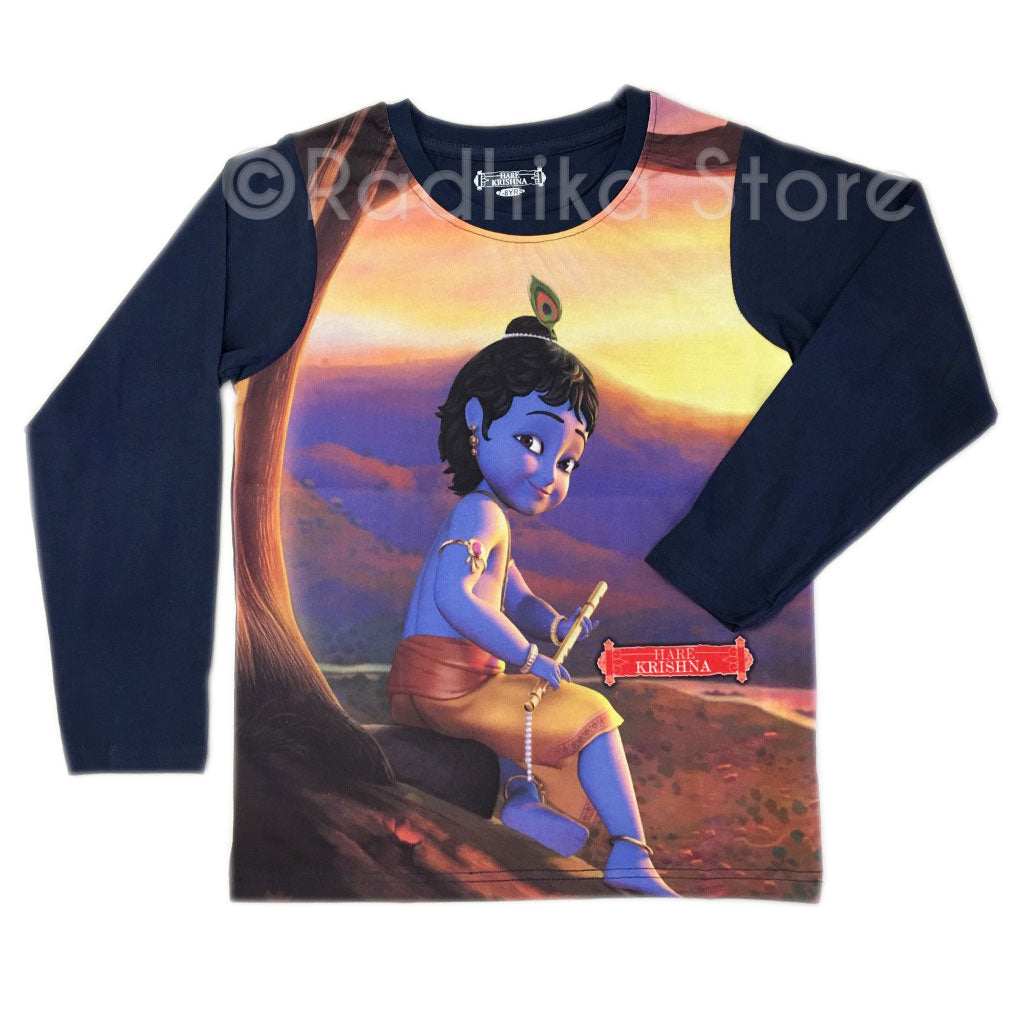 Little Krishna of Vrindavan Blue Long Sleeve- Choose Size -2 to 8 Year