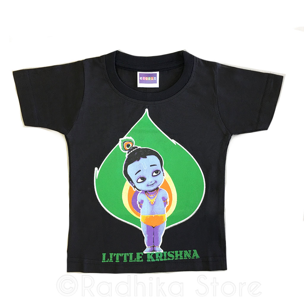 Little Krishna on Peacock Feather Colbolt - Black-Short Sleeve- Size 6 to 12 Months