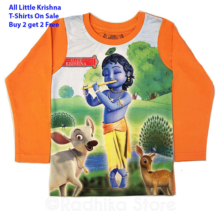 Little Krishna With Animal Friends Long Sleeve - Orange- Choose Size-2 to 8 Years