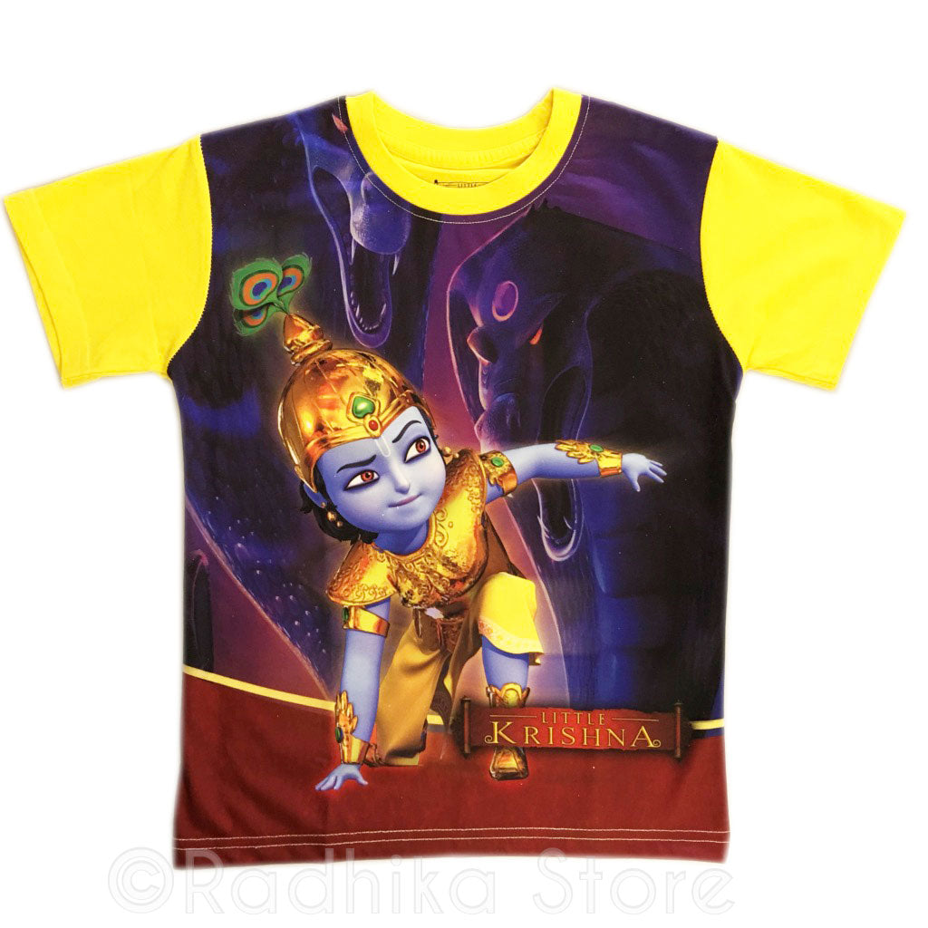 Little Krishna Warrior Yellow Short Sleeve- Choose Size- 2 to 8 Years