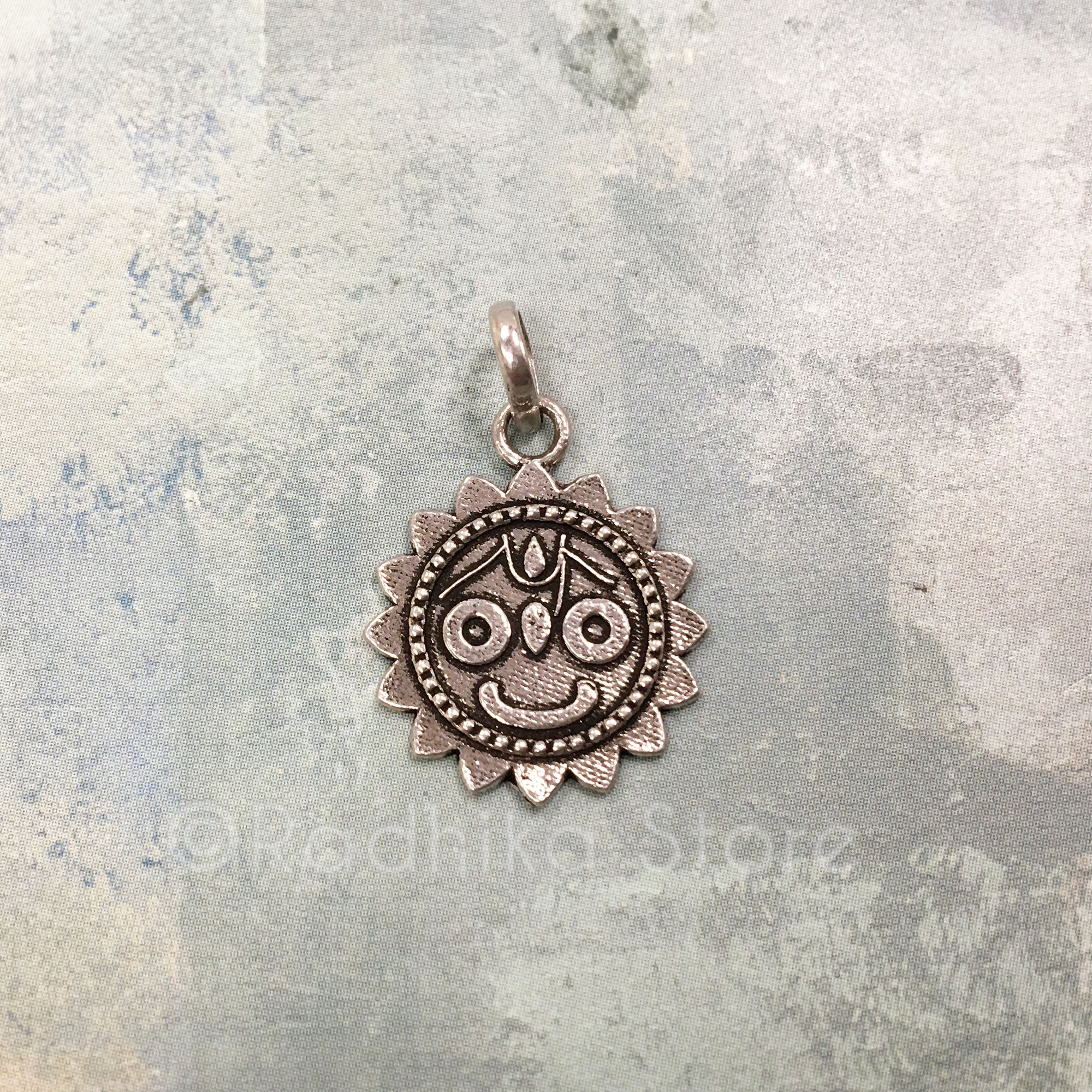 Lord Jagannath Lotus Face - Silver Pendant