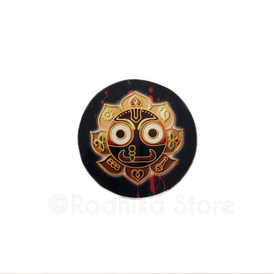 Lord Jagannath Golden Lotus Acrylic Button