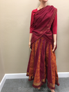 Gopi Skirt -Cotton- Maroon And Deep Orange With Gold Jari Ruffel - Maroon Chadar- Size Medium