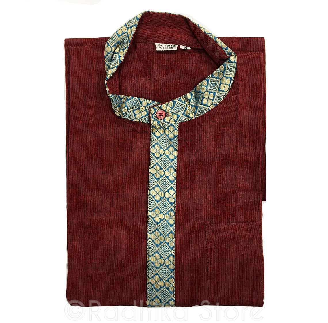 Maroon Kurtas - With Beige/Gold and Teal Blue Trim - S,m,l,xl,