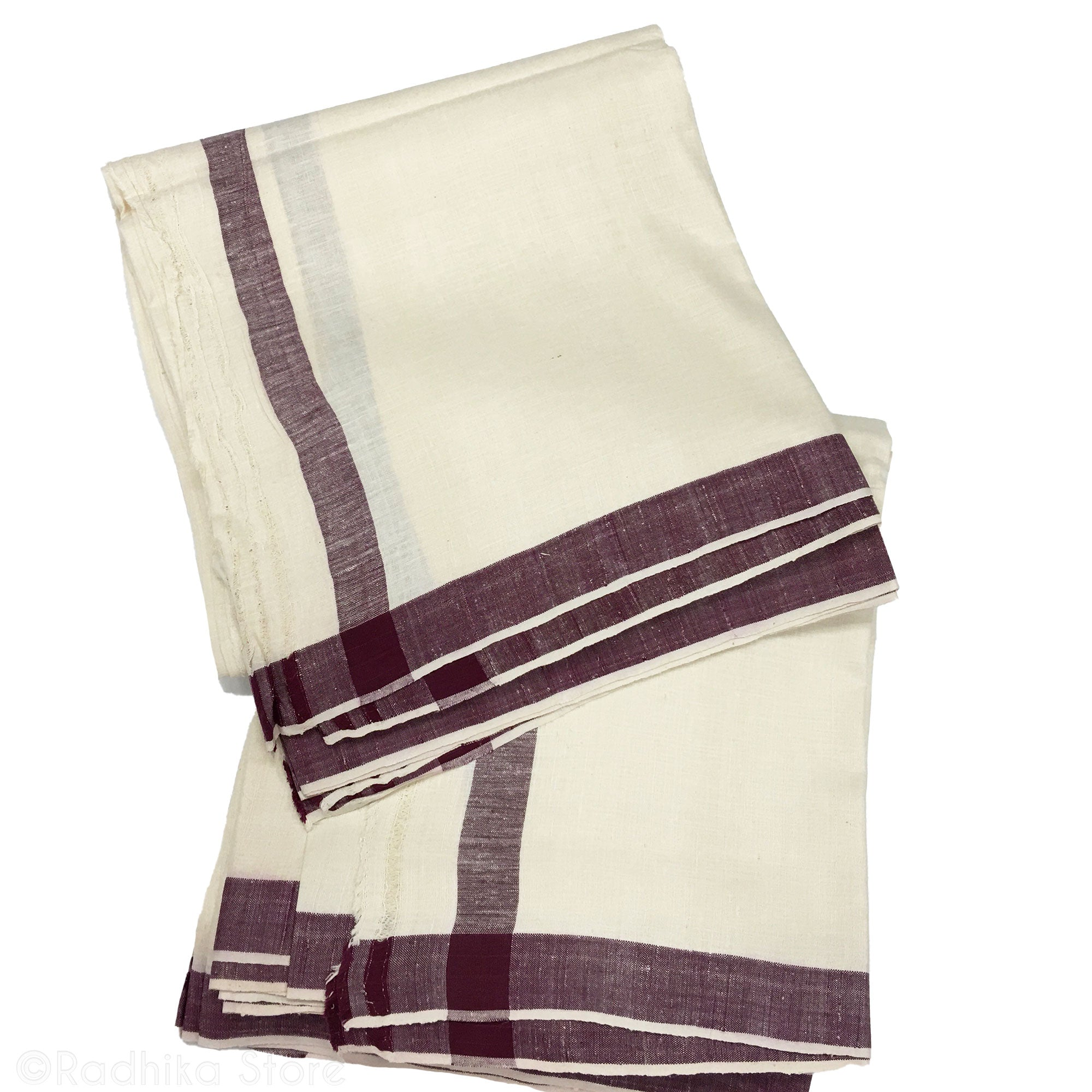 Raw Silk Dhoti And Chadar - Natural Khadi - Cream With Maroon Stripe