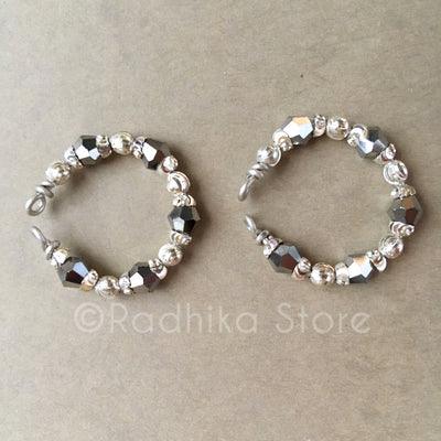 Silver With Hematite Bangles/Ankle Bells Set - 4 Sizes