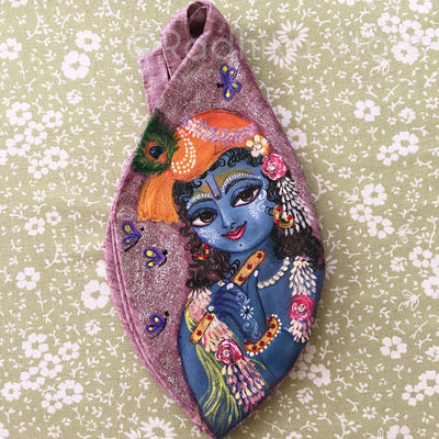 Murli Krishna - Hand Painted With Jewels - Maroon - Jute - Bead Bag