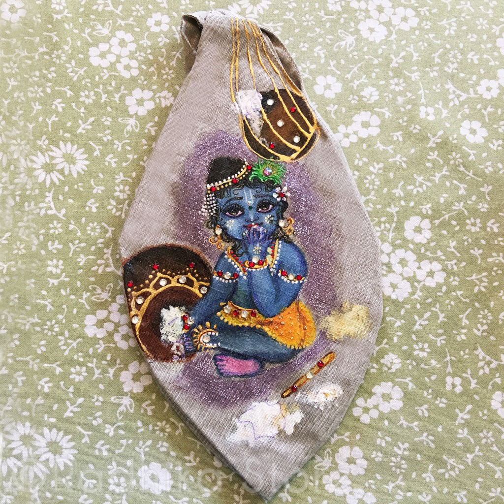 Chota Gopal Makhan Chore - Hand Painted With Jewels - Sand Color- Jute - Bead Bag