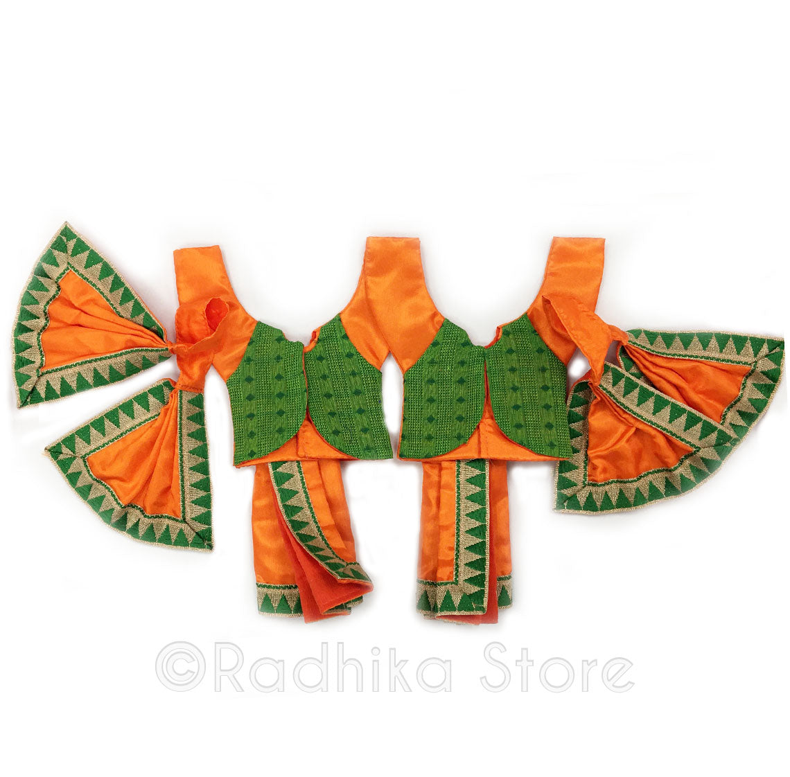 "Nara Hari Orange With Green Vest Deity Outfit - (Gaura Nitai) - 4"" Dhoti - Choose  Design"