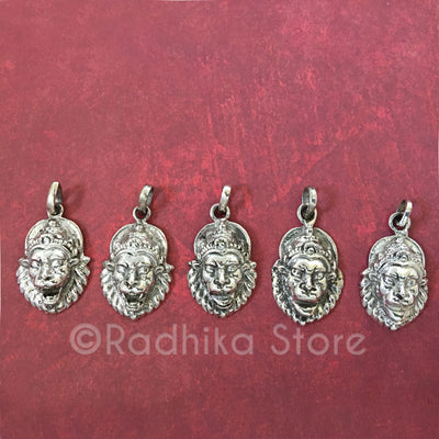 Silver Lord Narasimhadeva Pendant - Protection Mood Medium