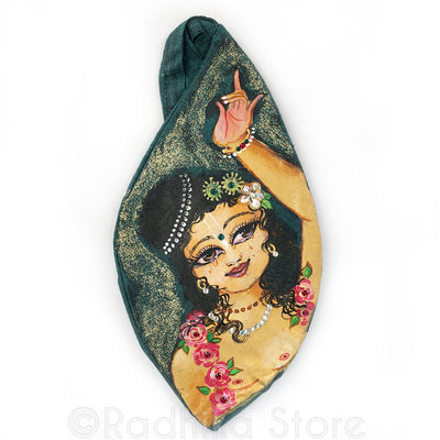 Nityananda Dance - Hand Painted With Jewels - Teal Bead Bag