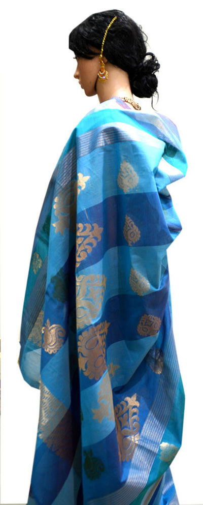 Ocean Waves Blue with Silver Paisley- Silk Cotton