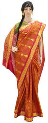 Orange With Pink And Gold Jari Hearts - Pure Silk Saree