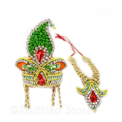 Oh My Gopala - Green and Orange - Rhinestone Crown and Necklace Set